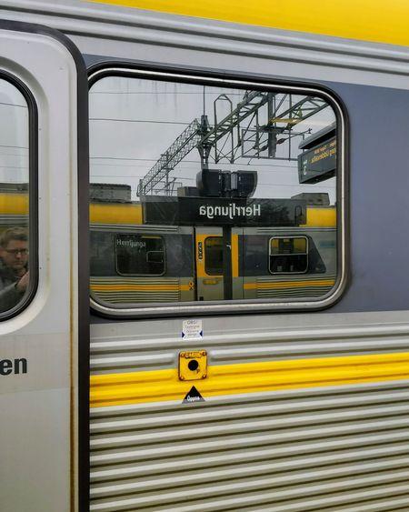 Self Portrait EyeEm Selects Public Transportation Train - Vehicle Yellow Mode Of Transport Text Rail Transportation Transportation Window