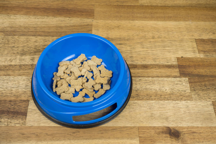 Copy Space Dog Bowl Dog Food Animal Food Blue Bowl Chewing Bone Close-up Day Food Food And Drink Freshness Goodies High Angle View Indoors  No People Still Life Table Treat Wood - Material