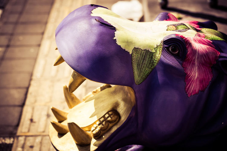 Funky Hippo! Close-up Day Flower Pattern Focus On Foreground Freshness Funky Hippo Hippopotamus Multi Colored Nature No People Painted Wood Petal Pink Color Purple Selective Focus Statue Wood Carving Colour Of Life The Street Photographer - 2018 EyeEm Awards The Traveler - 2018 EyeEm Awards