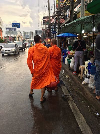 Monks Buddhist Monk Ngamwongwan Thailand Busy Street Rear View Full Length