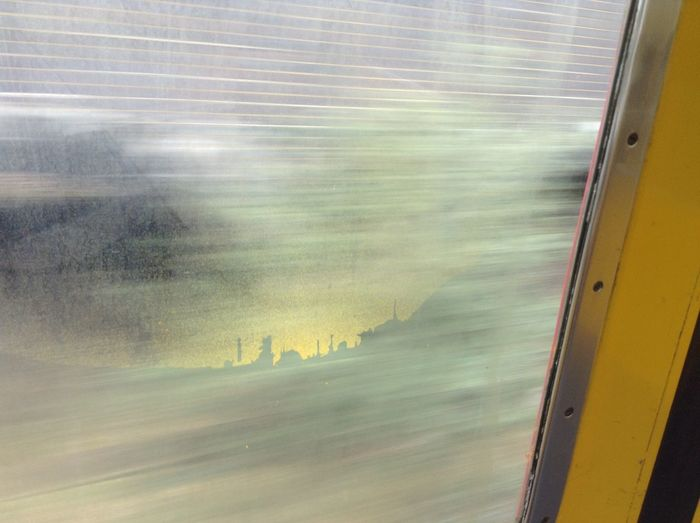 Sunrise over a city - can you see it in the paint? Cityscapes City London Crouch End Street Art Accidental Art Trains