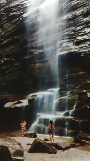 Blurred Motion Waterfall Water Tourism Nature Outdoors Rock Formation Beauty In Nature Day Flowing Water Vacations Power In Nature Multi Colored Magic Places Chapada Diamantina Cachoeira Do Mosquito