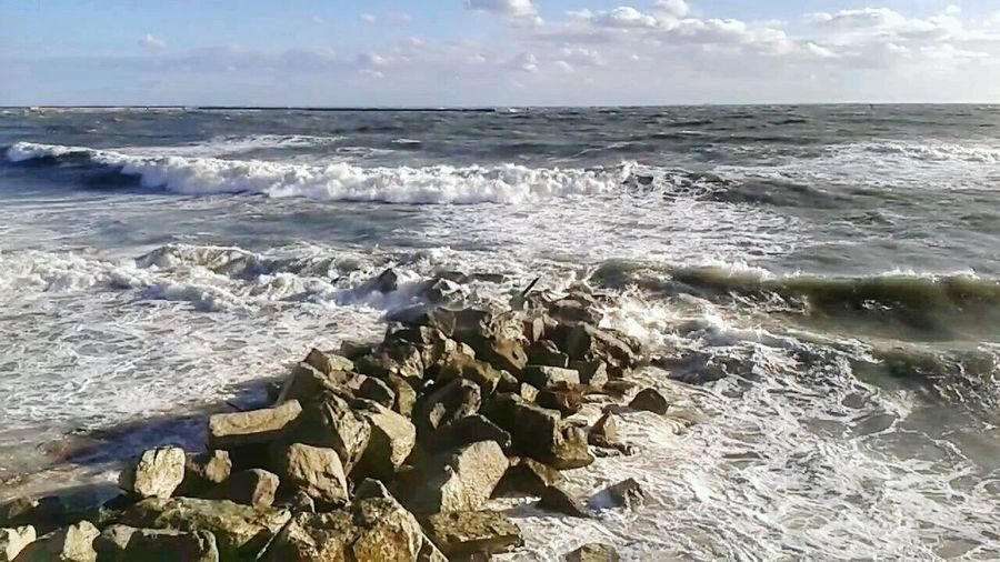 Breakwater Groyne Mareggiata Libeccio After The Storm Smartphone Photography Mobilephotography S3 Mini Water Wave Sea Beach Sand Sky Horizon Over Water Rushing Shore