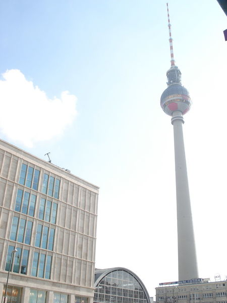 Architecture Blue Building Exterior Built Structure Capital Cities  City Communications Tower Culture Day Famous Place Fernsehturm International Landmark Low Angle View Modern No People Outdoors Sky Skyscraper Sphere Spire  Tall Tall - High Tourism Tower Travel Destinations