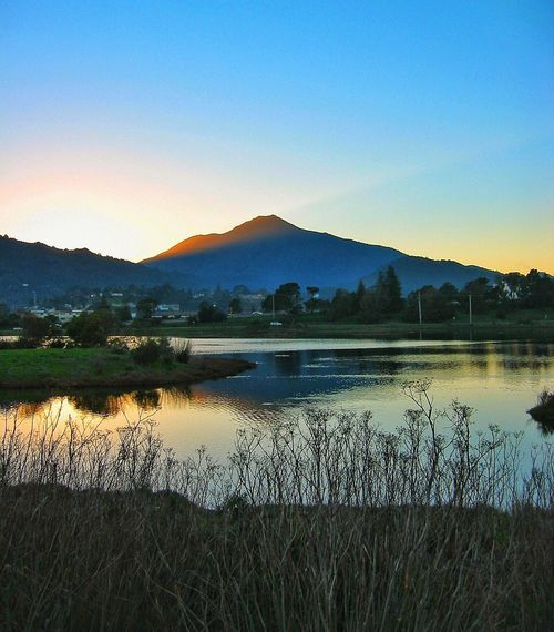 Mountain Lake Nature Reflection Scenics Tranquil Scene Water Beauty In Nature Tranquility Outdoors Mountain Range Grass No People Sunset Landscape Sky Sunset Marin County CA Mt. Tamalpais My Mountain