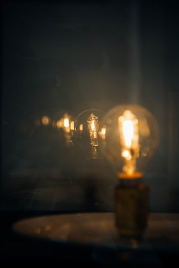 Close-Up Of Light Bulb At Night