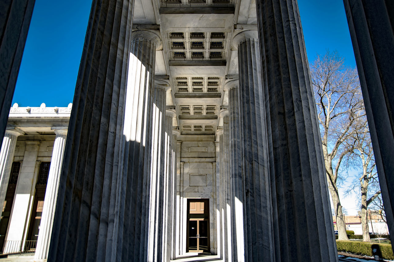 architecture, built structure, building exterior, day, low angle view, no people, history, architectural column, outdoors, sky
