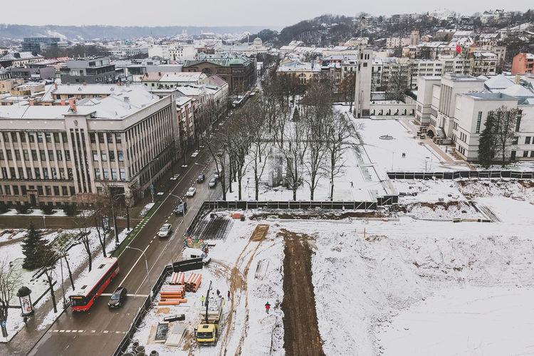 Winter in Kaunas Snow Winter Construction Site Lietuva