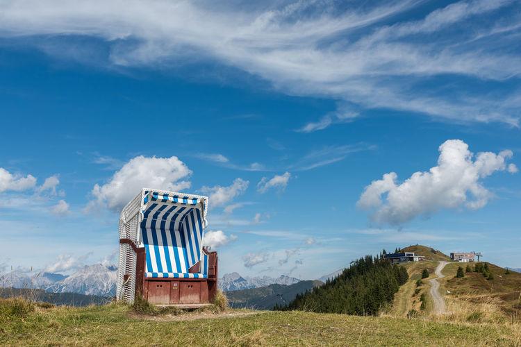 Berge Himmel Pinzgau Salzburger Land Schmittenhöhe Spätsommer  Strandkorb Wolken Zell Am See Österreich