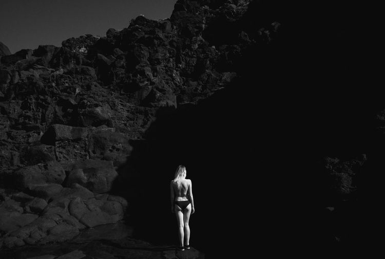 Volcanic View Black And White Tenerife Toplesswoman Lingerie Model Nudeartphotography Rocks Dark Shadows Mountains Summer Holidays Vacation Seaside Linas Was Here
