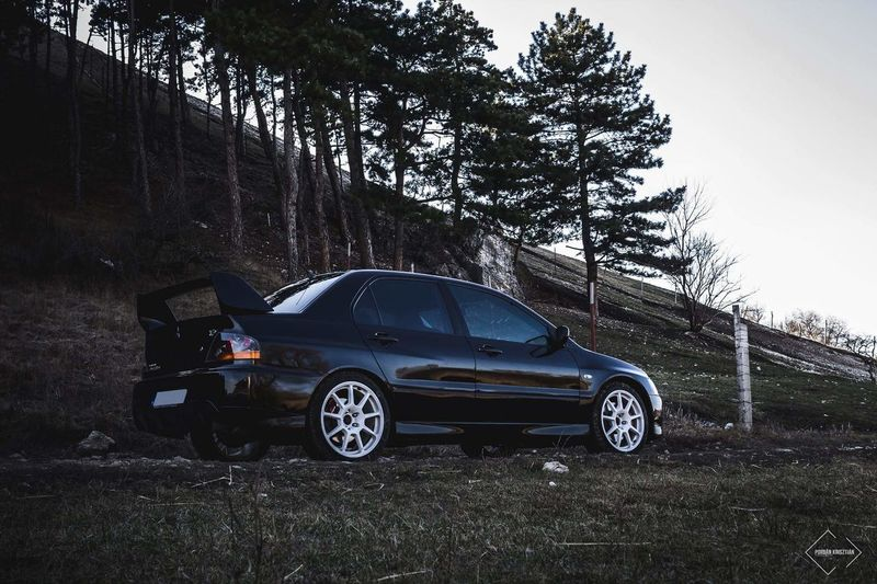 Car Transportation Driving No People Tree Outdoors Day Nature Sky Landscape Matte Evo Mitsubishi EVO 9