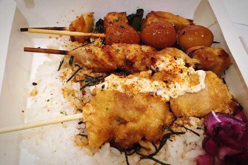 A messy bento box of goodness. Yakitori Singapore Orchard Japanese Food First Eyeem Photo