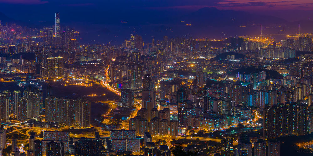 Aerial view of hong kong lit up at night