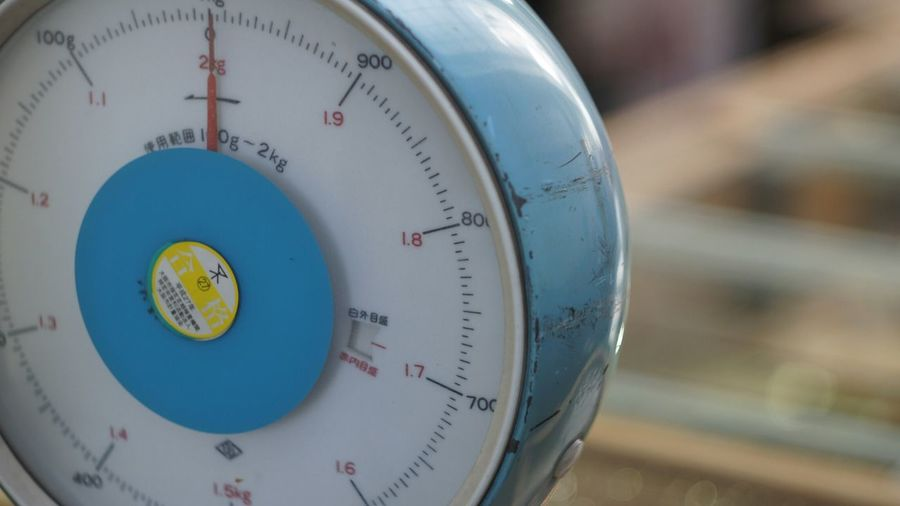 Close-up of weight scale