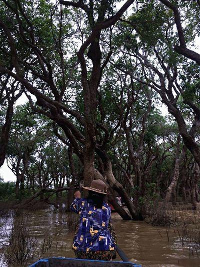 Boatwoman paddling through mangrove forest EyeEm Nature Lover EyeEmNewHere EyeEm Best Shots Paddle Boats Mangrove Nature Floating Village Boat Woman Kompong Pluk Siem Reap