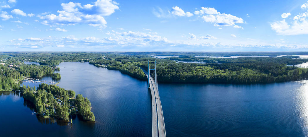 Drone  Finland Lost In The Landscape Panorama Panoramic Sunny Aerial Aero Boat Bridge Day Drone Photography Island Lake Landscape Nature No People Outdoors River Sea Sky Summer Water
