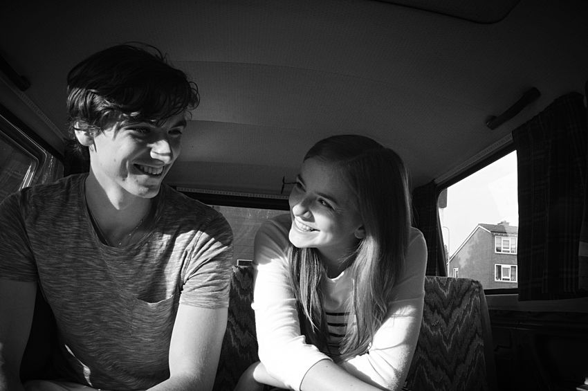 Brother & Sister Laughing Bonding Bondingtime in the Van Family Daylight Light And Shadow Making Memories Fun Blackandwhite Black & White B&w Transportation Smallspaces People Together The City Light