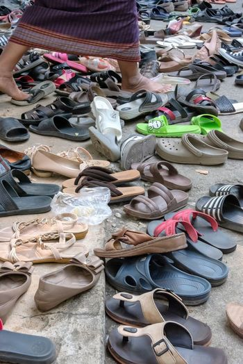 Shoe Choice Large Group Of Objects Variation Abundance Day For Sale Collection Pair Retail  Still Life Arrangement Fashion High Angle View Sandal Shopping Small Business Low Section Sale No People Slipper  Womenswear Shoe Store