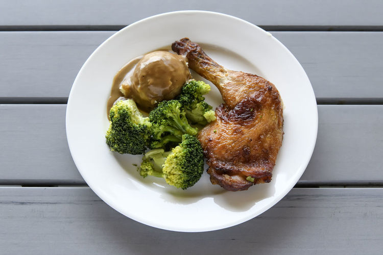 Directly above shot of roast chicken with broccoli in plate on table