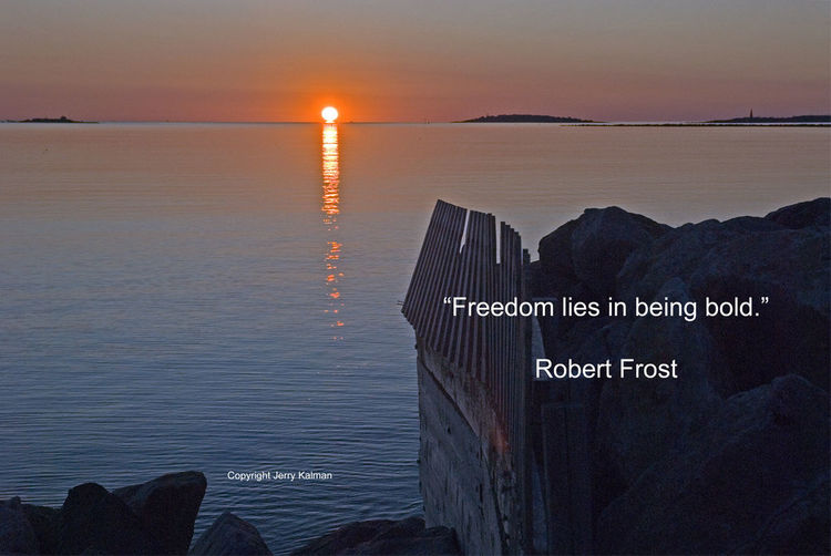 It's the birthday of #American #poet #RobertFrost and this sunrise at #Saco on the eastern coast of #Maine amplifies his point. If this #quotograph speaks to you, please #repost it. Freedom Maine Coast Quote Quotograph Robert Frost Saco Sunrise