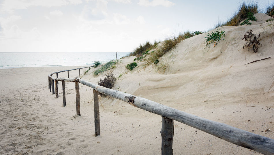 Beach Beauty In Nature Cloud - Sky Day Horizon Horizon Over Water Land Nature No People Outdoors Plant Railing Sand Scenics - Nature Sea Sky Tranquil Scene Tranquility Water Wood - Material