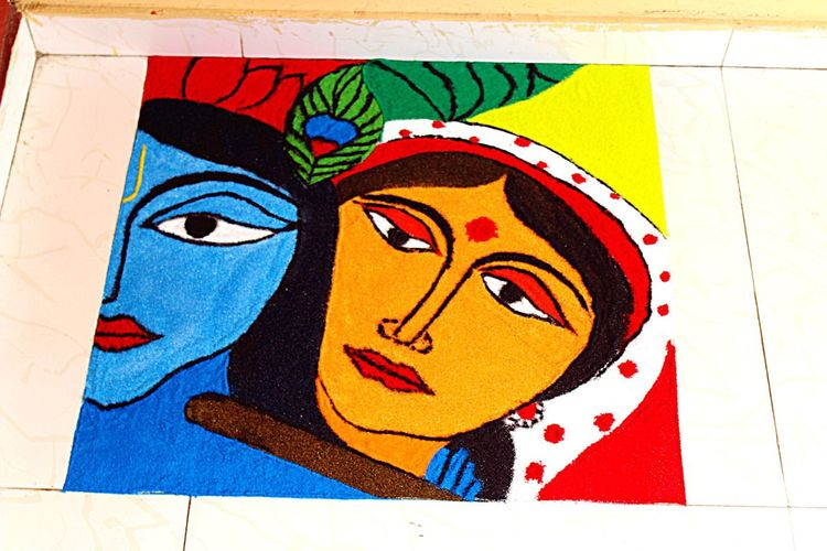 EyeEm Selects Creativity Art And Craft Multi Colored Paper Close-up No People Childhood Indoors  Day Rangoli Preparations Indian Culture Tradition Rangoli Powdered Color Painting