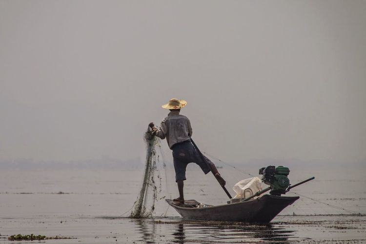 Fisherman Full Length Horizon Over Water Inle Lake, Shan State, Myanmar Nature Outdoors Water