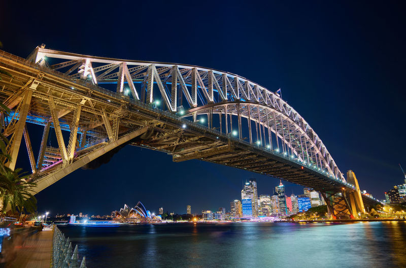 Sydney Harbor Bridge Over Parramatta River Against Sky In City At Night