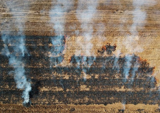Agriculture Aerial View Burning Field Backgrounds Full Frame Water No People Pattern Nature Day Outdoors High Angle View