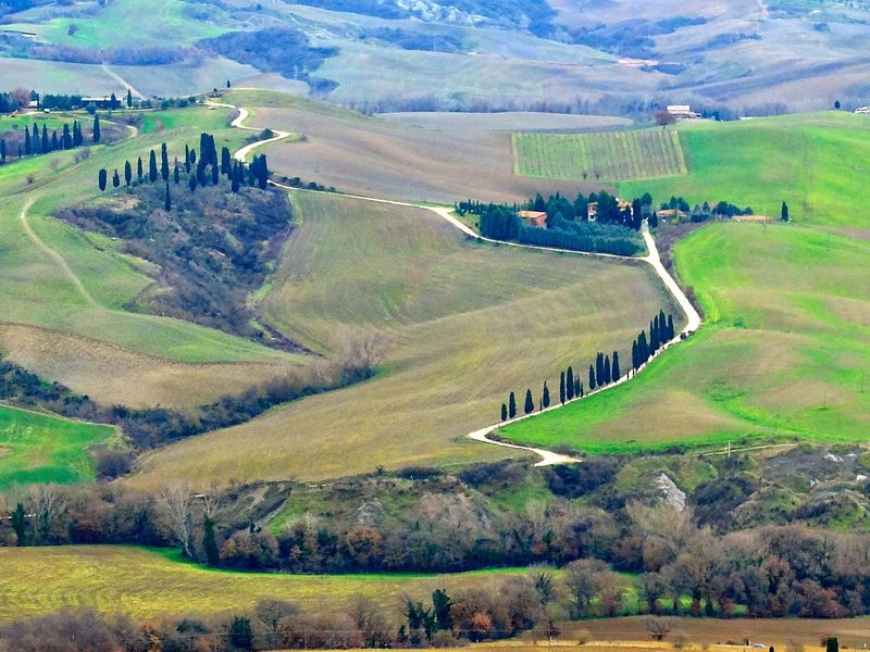 Tuscany Tuscany Countryside Beauty In Nature Day Grass Green Color High Angle View Landscape Nature No People Outdoors Scenics Tranquil Scene Tranquility
