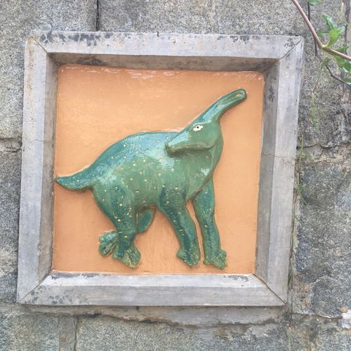 Dinosaur Playground - Wall Motifs Public Playground Dinosaur Animal Animal Representation Animal Themes Architecture Art And Craft Built Structure Craft Creativity Day No People One Animal Outdoors Sculpture Wall Wall - Building Feature