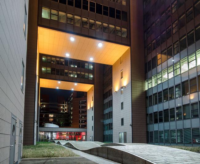Interior of illuminated building at night