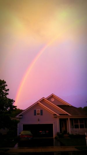 Rainbow At End Of Storm Cloud Perfect Circle Inside The Dome