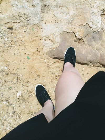 Low Section Beach Standing Sand Shadow Human Leg Women Shoe High Angle View Personal Perspective