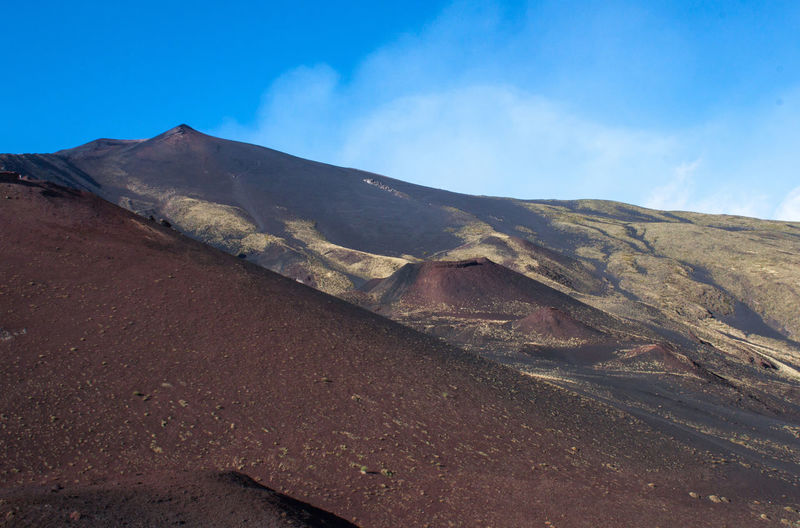 Scenic view of mt etna against sky
