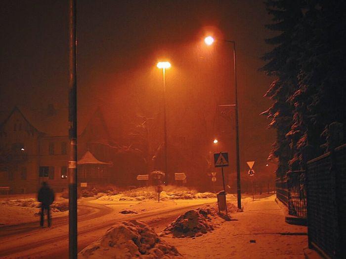 Poland Polska Pszczyna Zima Winter Night Noc Śląsk Górny śląsk Silesia
