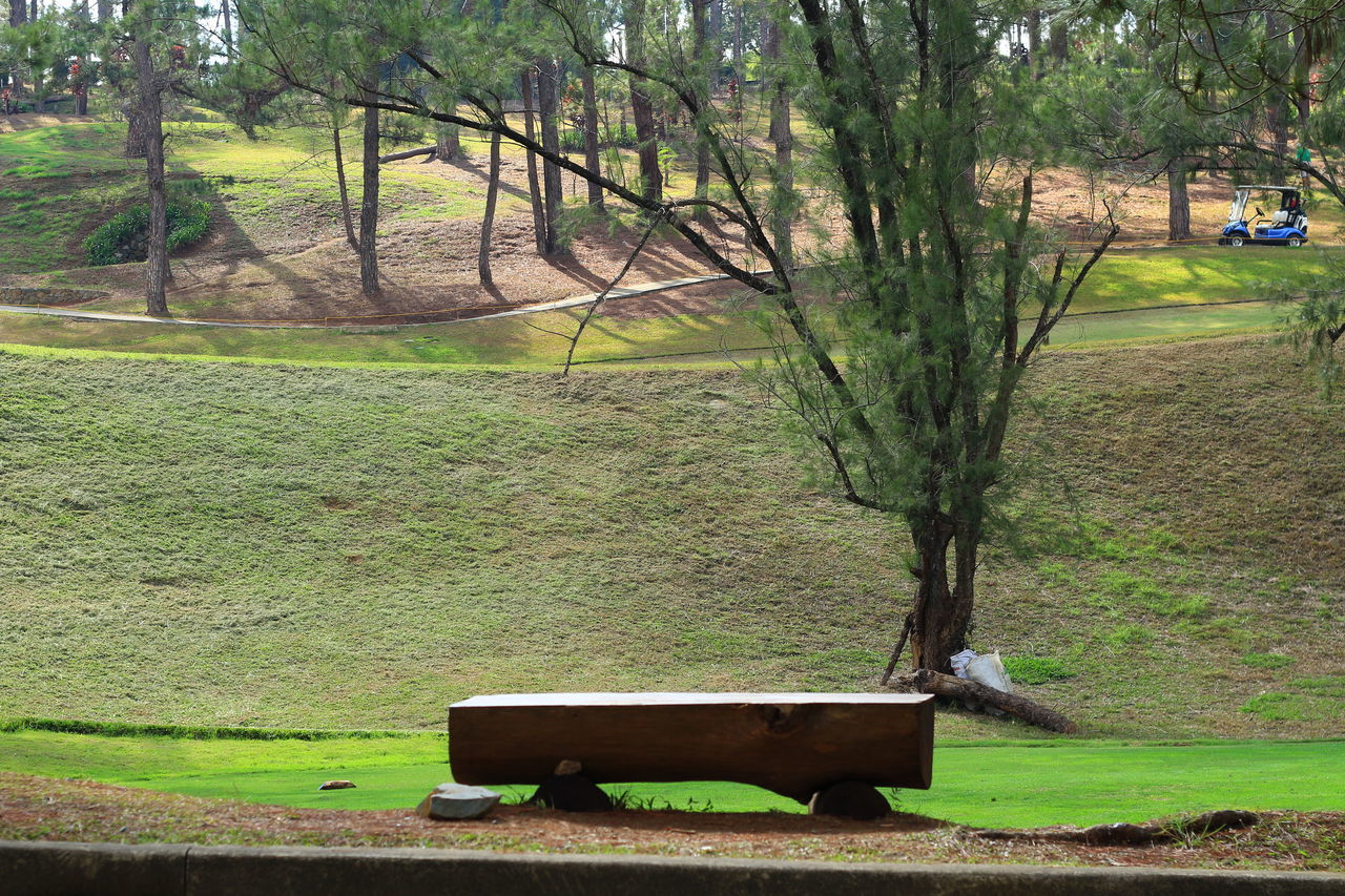 High Angle View Of Empty Seat On Golf Course
