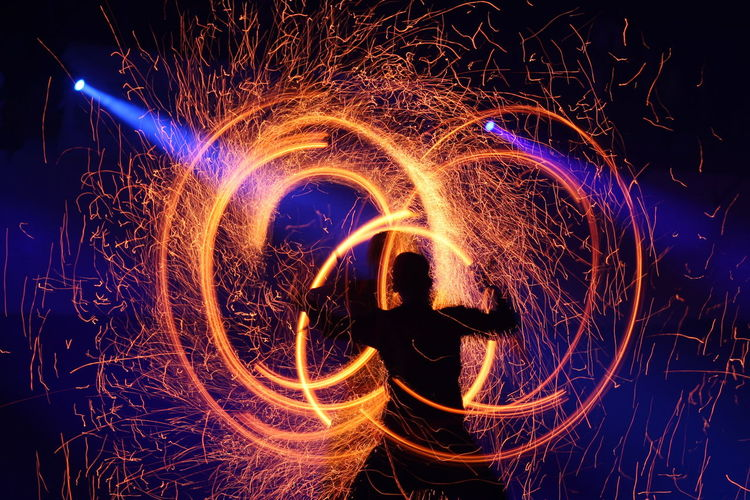 Night Motion Illuminated Long Exposure Blurred Motion Glowing Real People Arts Culture And Entertainment Wire Wool One Person Burning Sparks Fire Spinning Light Painting Fire - Natural Phenomenon Light Trail Dark Light Fireshow Show Circles Circle Round Round Shape Capture Tomorrow