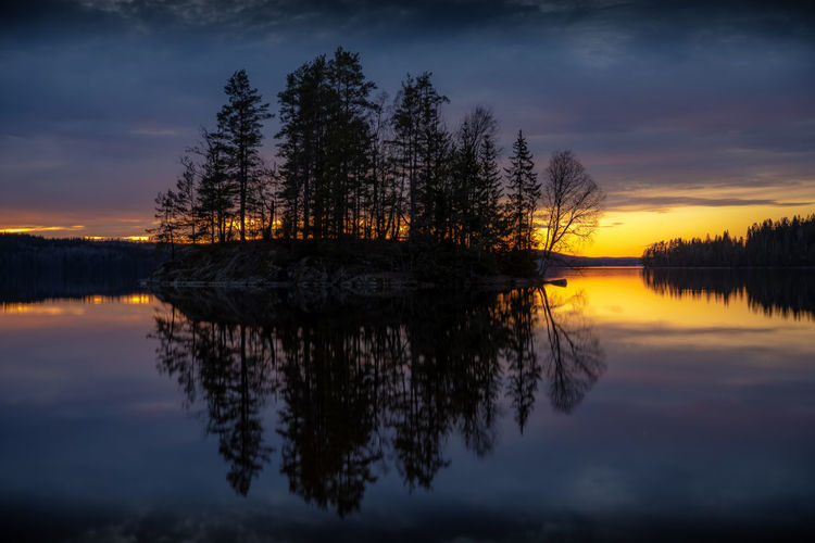Reflection Sky Tree Tranquility Water Beauty In Nature Sunset Tranquil Scene Scenics - Nature Plant Lake Cloud - Sky Nature Symmetry Idyllic Waterfront Non-urban Scene No People Orange Color Outdoors Reflection Lake Nigthphotography Night Night Photography HDR HDPhotography Long Exposure Sweden Dalsland Nikon D850 Iris - Plant