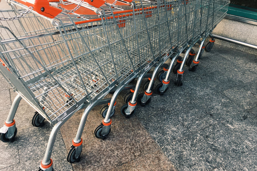 Shopping Cart Consumerism Empty High Angle View In A Row Metal No People Outdoors Retail  Shopping Shopping Cart Steel