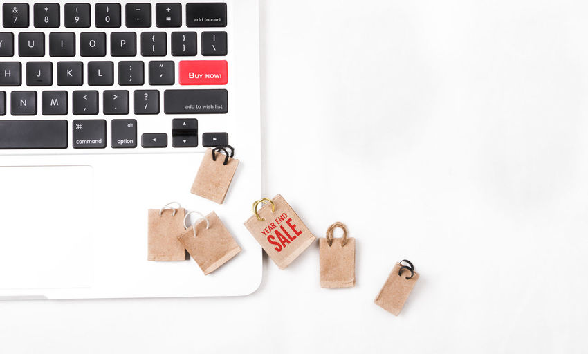 E-commerce online shopping concept. Miniature of reusable grocery bags. Bag Business Commercial Delivery Desk Desk From Above E Commerce Flat Lay Free Grocery Shopping Home Miniature Offer Office Online  Register Sale Shipping  Shopaholic Shopping Subscribe Technology Typing Voucher Wireless Technology