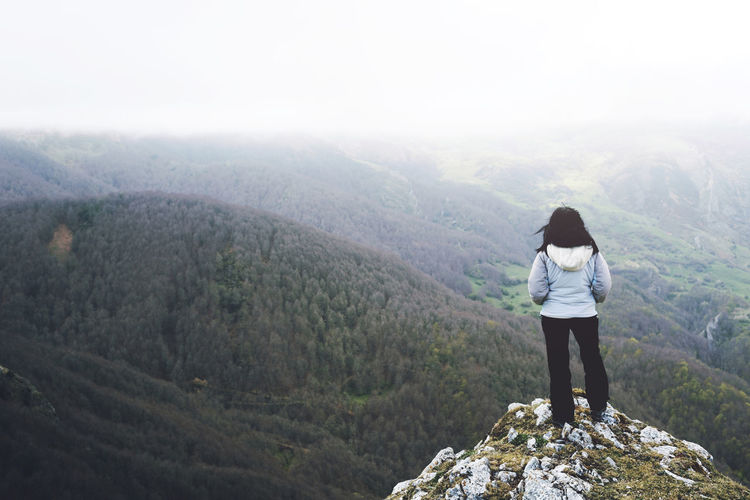 Autumn Freedom Holidays Hope Lifestyle Loneliness Travel Adventure Altitude Beauty In Nature Forest Girl Landscape Leisure Mountain Nature Outdoors Real People Rear View Sky Sport Standing Success Tranquility Valley