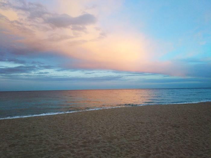 Sunset Platja De Sabanell Beach Platja Catalunya Blanes Costa Brava Coastline Romantic Sky Calm