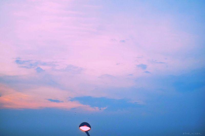 Morning Clouds Sky Street Light Hues Orange Purple Colorfulsky The_nikon_