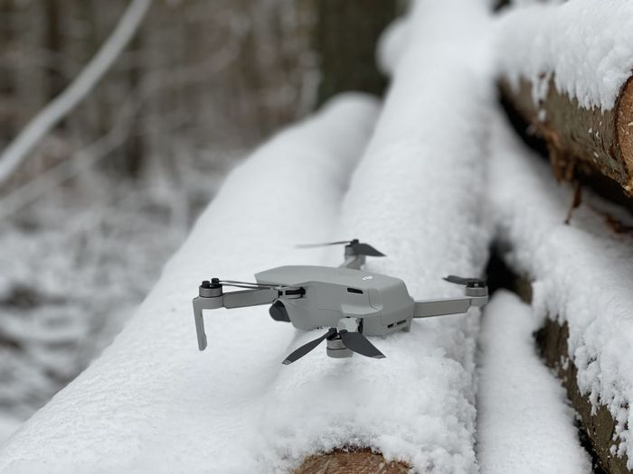 Close-up of toy on snow covered land