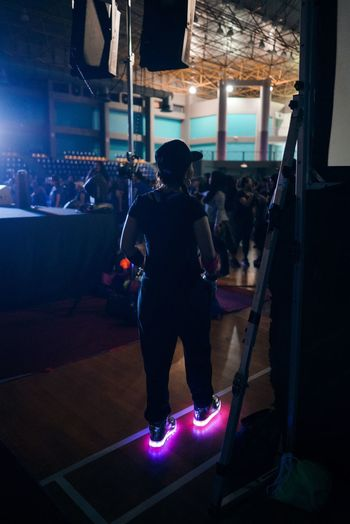 Glow Real People Lifestyles Leisure Activity Indoors  Arts Culture And Entertainment Men Performance Illuminated Full Length One Person Night Nightlife Gym Adult People Adults Only
