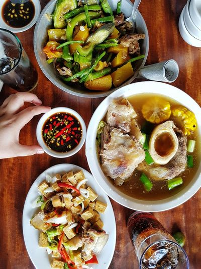 Food Food And Drink Table Plate High Angle View Meal Indoors  Ready-to-eat Indulgence Vegetable EyeEmNewHere Eyeem Philippines S7 Edge Filipinofood BULALO Tokwa At Baboy Yummy