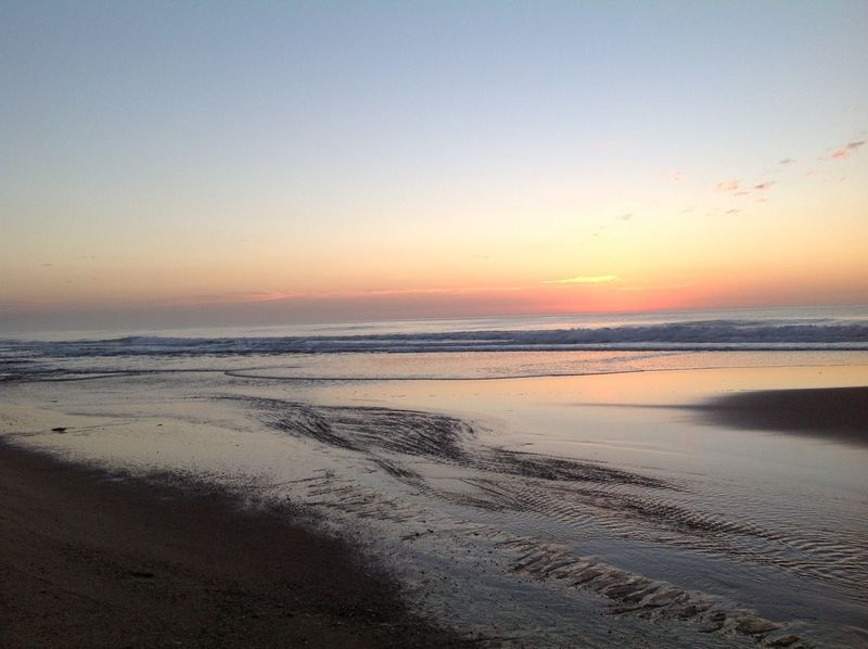Ocean and beach at sunset Beach Day Low Tide, Dry River Bed Outdoors Sand Sea Sky Sunset, Water