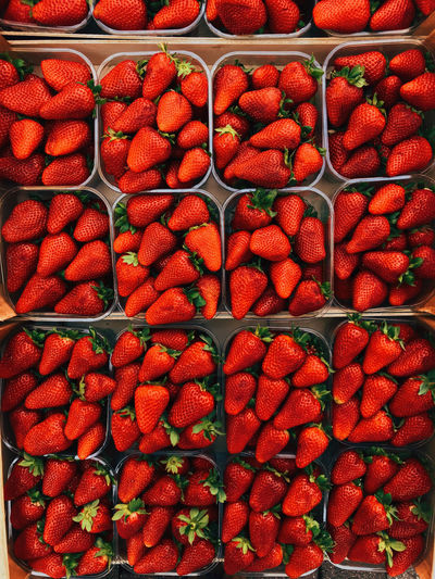 Full Frame Shot Of Strawberries For Sale In Market