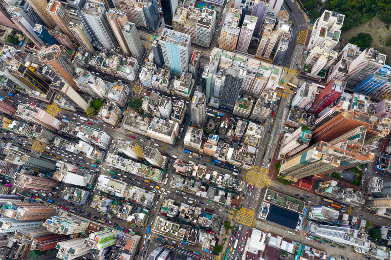 Top view of Hong Kong city Hong Kong City Downtown Urban Sham Shui Po Kowloon Side District Mong Kok Outdoor Yau Ma Tei Shopping Center Street People Landscape Skyline Architecture Building Cityscape Housing Landmark Estate Residential  Apartment Top View Aerial Fly Drone  Over Above Down Top Down Bird Eye Hk Hong Kong